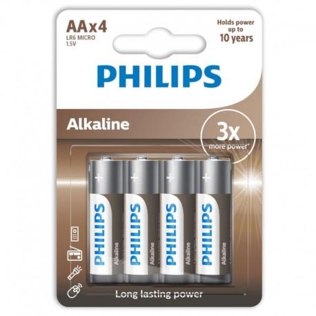PHILIPS ALKALINE PILA AA LR6 BLISTER4